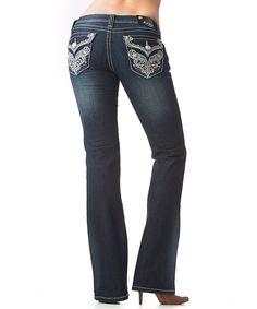 GRACE in LA Dark Blue Floral Filigree-Pocket Bootcut Jeans by GRACE in LA #zulily #zulilyfinds