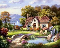 Global Gallery 'Stone Bridge Cottage' by Sung Kim Painting Print on Wrapped Canvas Size: House Painting, Painting Prints, Art Print, Landscape Art, Landscape Paintings, Cottage Canvas Art, Belle Image Nature, Thomas Kinkade, Home Art