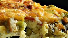 Breakfast casserole with bacon, Cheddar cheese, and potatoes will quickly become a favorite in your household on the weekends.