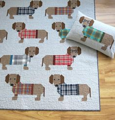 Dogs in Sweaters Quilt Pattern by Elizabeth Hartman Use conventional patchwork techniques to make these adorable dogs and their stylish sweaters. Pattern includes instructions for making two quilt sizes and a quilted pillow cover. Give your dogs some pe Quilting Projects, Quilting Designs, Elizabeth Hartman Quilts, Sweater Quilt, Dog Quilts, Animal Quilts, Scrappy Quilts, Barn Quilts, Art Textile