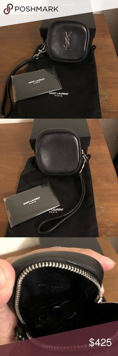 Saint Laurent Black Leather Mini Macho Pouch Super cute wristlet in great condition. This little leather pouch has a detachable strap and can be used as a coin pouch or to carry cash and keys for a night out. Comes with dust bag, box and paperwork. Saint Laurent Bags Clutches & Wristlets