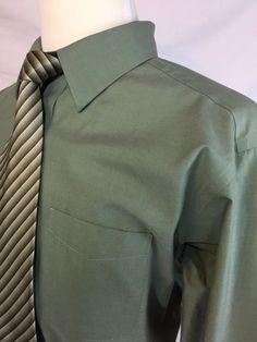 Roundtree Yorke Gold Label Mens Dress Shirt Size 17.5 35 Sage Green Pinpoint #RoundtreeYorke #dressshirts #mensfashion #green #ebay #forsale