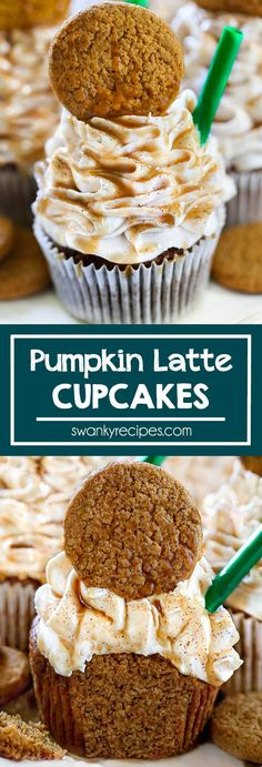 Pumpkin Cupcakes - The BEST Pumpkin Latte Cupcakes. A Starbuck's copycat dessert recipe made with real pumpkin, cookies, and caramel. A delicious fall treat. Starbucks Pumpkin Spice Latte, Pumpkin Spiced Latte Recipe, Pumpkin Spice Cake, Pumpkin Dessert, Pumpkin Recipes, Pumpkin Cupcakes, Pumpkin Cookies, Fall Dessert Recipes, Köstliche Desserts