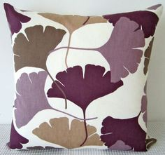 Ginkgo leaf motif retro purple, lilac, brown and white cushion Cover, contemporary designer fabric slip cover, throw pillow.