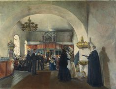 Christening In Stange Church by Harriet Backer