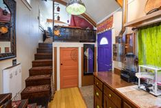 The Lilypad tiny house in Portland features two loft spaces and a lot of personality! Tiny House Stairs, Tiny House Loft, Tiny House Storage, Tiny House Living, Tiny House Plans, Tiny House Design, Loft Design, Loft Spaces, Small Spaces