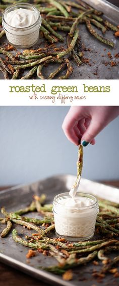Roasted Green Beans with Creamy Dipping Sauce These oven roasted green beans are coated in Parmesan cheese and then dipped in a flavorful, creamy Side Dish Recipes, Veggie Recipes, Appetizer Recipes, Vegetarian Recipes, Cooking Recipes, Appetizers, Side Dishes, Diet Recipes, Healthy Recipes