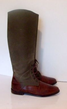 753a3a06c94 Sz 8.5 Vintage two tone leather and canvas tall lace up front ankle flat Cole  Haan Equestrian riding boots