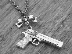 Gun Necklace Silver Gun Jewelry Bow Necklace by InkandRoses13, $20.99