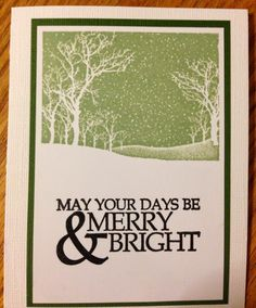 Snowy NIght Christmas Card -  The Card is on a white base 4.25 x 5.5 & used Bazzill white. Green CS is Bazzill Rainforest cut to 3.5 x 5 and plain white was cut to 3.25 x 4.75.  Hero Arts Snowy Night stamped w Hero Shadow Field Green on plain white.  IO stamp Merry and Bright stamped in Versafine Black & then clear embossed. Very Easy Card to Make!  (10.14.14)