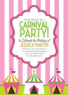 Carnival Stripes Pink Birthday Invitation