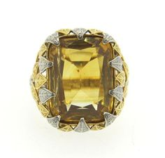 Cartier France Citrine Leaf Motif Cocktail Ring