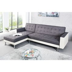 Moderne hoekbank chaise lounge wit antraciet - 36141