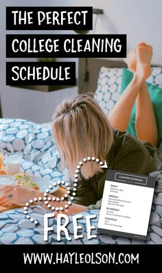 I've created the perfect college cleaning schedule. It doesn't have you cleaning everything every day and it doesn't have you cleaning once a semester; it has some balance. Click through to read more, or pin to save for later! Find my blog at... www.hayleolson.com