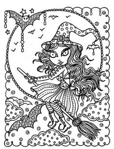Whimsical Witch | Halloween Zendoodle | Free Printable Adult Coloring Page