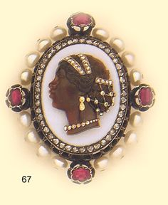 "Victorian Brooch, Agate ""blackamoor"" cameo, rose-cut diamond,  natural pearl, ruby and gold brooch"