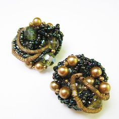#Vintage #Cluster #Earrings Clip on Statement Beaded Beads