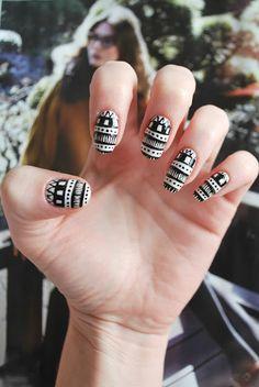 monochrome trend tribal nail art tutorial #nails #nailart