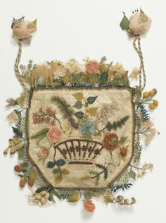 A Souvenir from Turkey : This charming purse from Turkey likely was produced for the growing market of foreign visitors as international tourism developed in the nineteenth century. It was made using a hooked needle similar. Vintage Purses, Vintage Bags, Vintage Handbags, Embroidery Bags, Beaded Embroidery, Decorative Bows, Design Museum, Flower Basket, Luxury Handbags