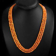 Natural Orange Carnelian Faceted 3 Line Beads Necklace