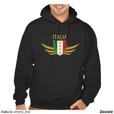 Italia Wing Crest Design Hooded Pullover. Italian Clothing & Apparel.