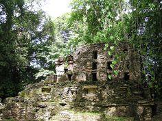 De ruines in de jungle van Yaxchilan.