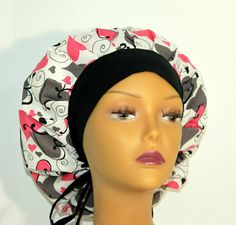 Valentine's Day bouffant scrub hat Pink and Grey by UniScrubCaps, $11.99