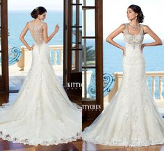 Beading Square Neck Wedding Dresses With Lace Applique Stunning A Line Bridal Gowns Sweep Train Sleeveless Garden Wedding Gowns 2015 #dhgatePin