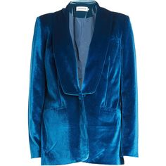 Self-Portrait Velvet Blazer ($485) ❤ liked on Polyvore featuring outerwear, jackets, blazers, blue, blue velvet blazer, drapey jacket, velvet lapel blazer, blue blazer jacket and blue blazer