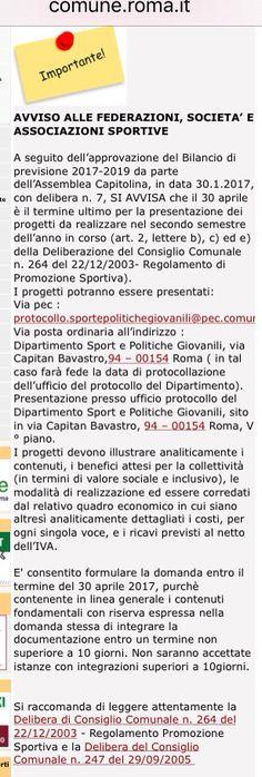 Contributi per associazioni, federazioni e società sportive da Roma Capitale. Scadenza il 30 aprile. Ecco un altro bando che non è facile da trovare ma che noi abbiamo scovato e inviato a tutti tramite la mia newsletter. Iscriviti invia una mail a scrivimi@fabriziosantori.com