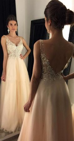 2017 Prom Dresses, V-Neck Prom Dress With Appliques, Beaded Long A-line Tulle Prom Dress, Long Evening Dresses, Prom Dresses
