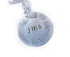 Hand cut Hand Stamped Greek key Monogram necklace. $17, $17