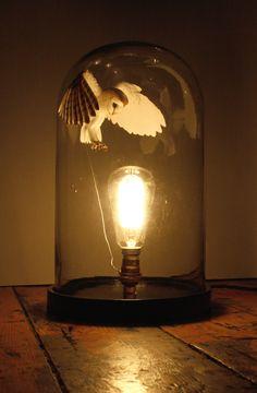 Steampunk Tendencies   Paper and wood Barn Owl bell jar light