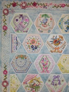 Top left of finished Hexie quilt by Kay Lea.