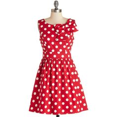 ModCloth Vintage Inspired Mid-length Sleeveless A-line The... ($30) ❤ liked on Polyvore featuring dresses, polka dot, vestidos, polka dot dress, red fit and flare dress, bow dress, red a line dress and red dresses