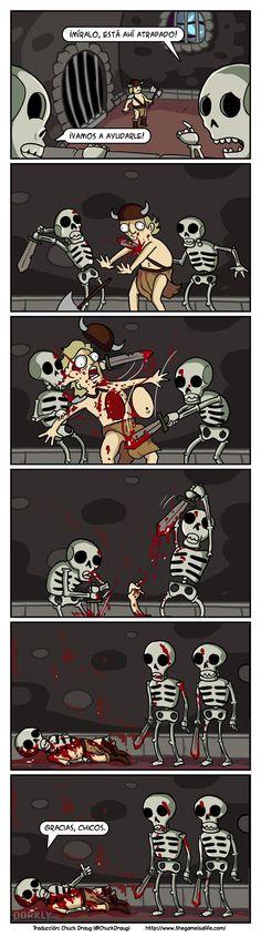 El punto de vista de los esqueletos de videojuegos.