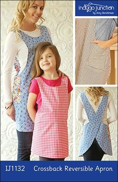 This reversible apron slips on over your head & is ideal for kitchen or garden work. Adult & child versions are included with multiple sizes for both. Patch pocket provided. The crossback straps make fitting a breeze. Adult & Child sizes