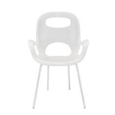 Oh Chair Białe Krzesło z Podłokietnikami, Stal Tworzywo Sztuczne - 239, dostawa gratis