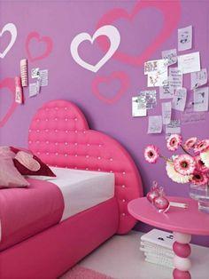 Pink white teen girls bedroom design