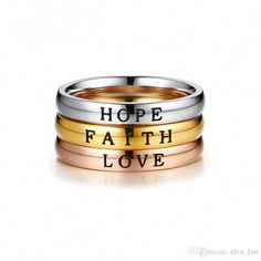 DESCRIPTION Hope - Faith - Love Engrave Ring - Good gift for your friend and your family. Condition: Brand New Material: Stainless Steel Style: Engrave Ring/Best Friend Ring/Unisex Ring Size: US 8 Color: Gold (Faith), Silver (H. Best Friend Rings, Birthday Gifts For Best Friend, Faith In Love, Have Faith, Party Rings, Love Ring, Friendship Gifts, Party Accessories, Wedding Bands