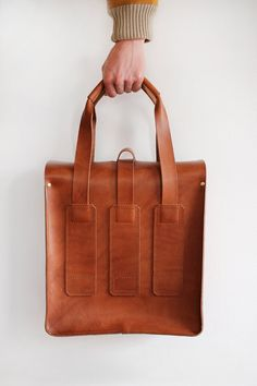 Brown all leather service holdall by ScottFraserCltn on Etsy