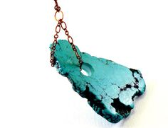 Turquoise necklace long necklace brass chain by NatureLook on Etsy, $49.00