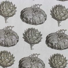 Artichoke and pumpkin illustrations in greys and tans on an off white, linen/viscose base cloth. A medium weight fabric that is 'gourd' for curtains, cushions and accessories! Textile Industry, Curtain Fabric, Gourds, Harvest, Vintage World Maps, Decorative Plates, Illustration, Green, Pattern
