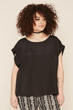 Forever 21+ - A satin blouse featuring a scoop neckline, cuffed short sleeves and a slight high-low hem.
