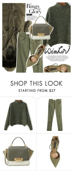 """Sweater Weather"" by vanjazivadinovic ❤ liked on Polyvore featuring Tiffany & Co., Current/Elliott, ZAC Zac Posen, Steve Madden, polyvoreeditorial, wintersweater and zaful"