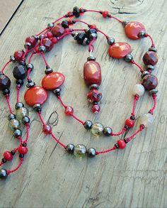 Boho Necklace, Sundance Style, Hand Knotted, Bohemian Jewelry, Red Stone. $52.00, via Etsy.