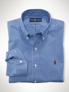 Polo by Ralph Lauren; Blue and white gingham sport shirt