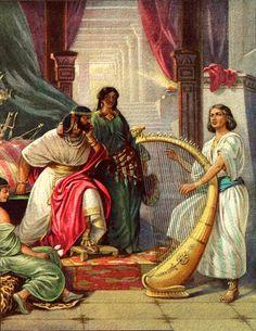 David plays harp for Saul
