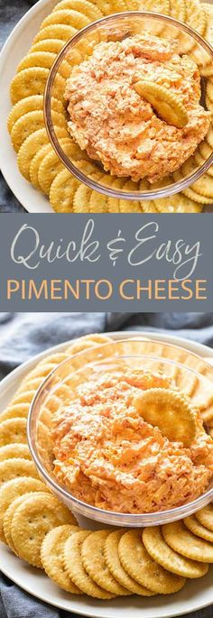 A quick 10-minute pimento cheese dip is a must-make for game-day, holidays and other get-togethers. It's a simple mix-and-serve appetizer made with sharp cheddar cheese, cream cheese, peppers and mayonnaise otherwise know as a combination of flavors that's hard to resist. Cheese Dip Recipes, Easy Appetizer Recipes, Delicious Dinner Recipes, Party Appetizers, Yummy Appetizers, Gourmet Recipes, Snack Recipes, Snacks, Apple Recipes