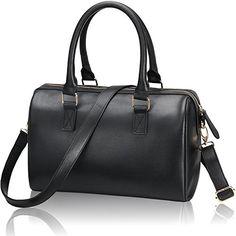 Dophany Women's Handbag PU Leather Fashion Handbag Crossbody Bag Top-Handle Shoulder Bags Tote Bag (Black) -- Click image to review more details.